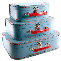 blue paper suitcases
