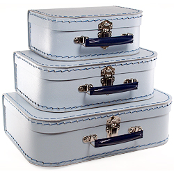 light blue paper suitcases