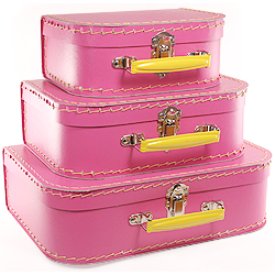 hot pink paper suitcases