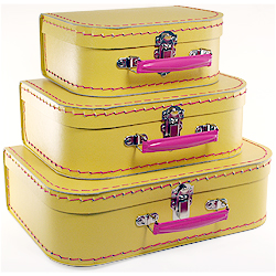 yellow paper suitcases