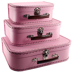 pink paper suitcases