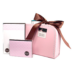 pink polka dots suitcase set
