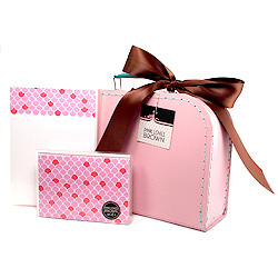 pink scallops suitcase set