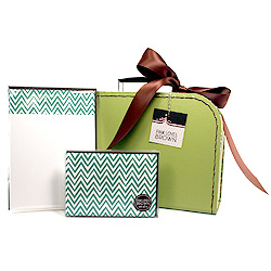 green zigzags suitcase set