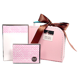 pink zigzags suitcase set