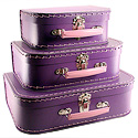purple paper suitcases