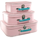 light pink paper suitcases