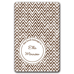 brown zigzags bookplates