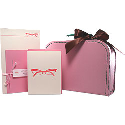 glasses suitcase gift set : pink loves brown
