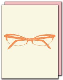 glasses card : pink loves brown :  stationery notecard