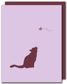 kitten card : pink loves brown :  cat card stationery handmade